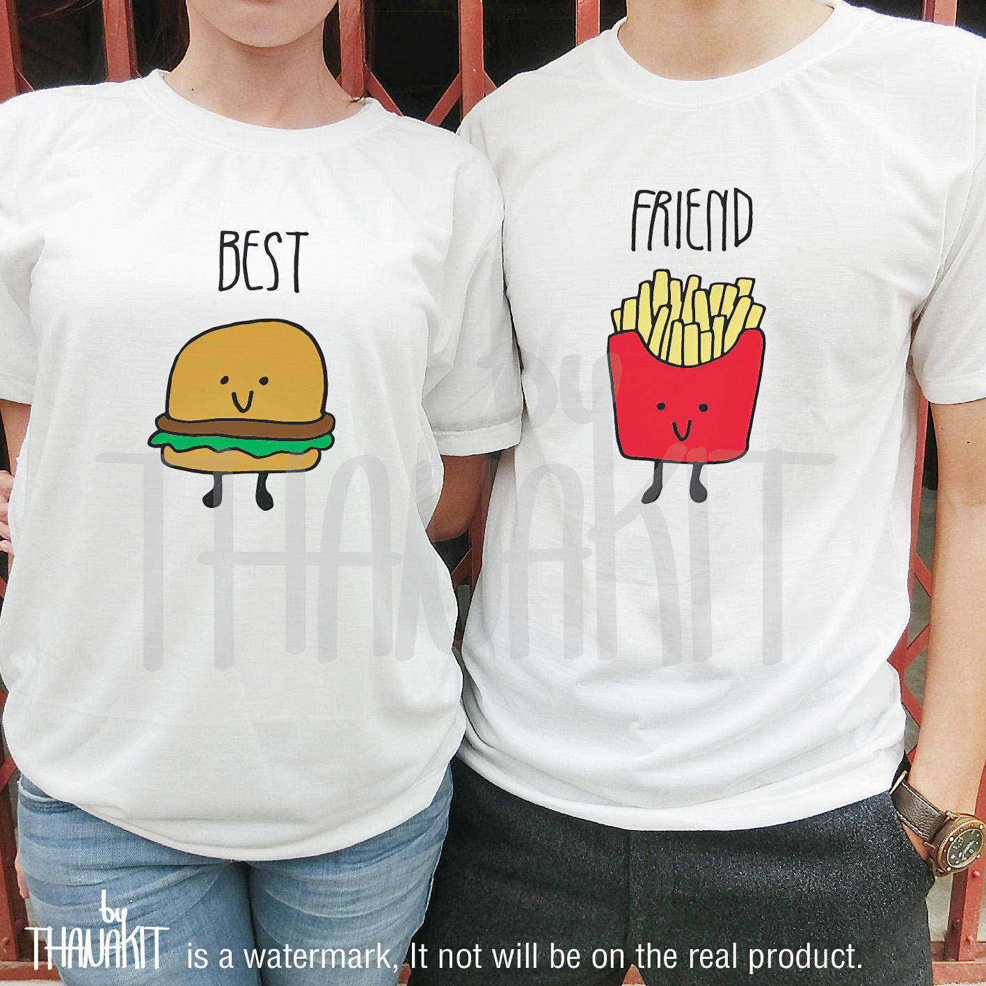 Burger and friiend best friend forever french fries t for Best couple t shirt design